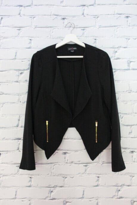 Veston cour à manches longues noir avec zippers dorés