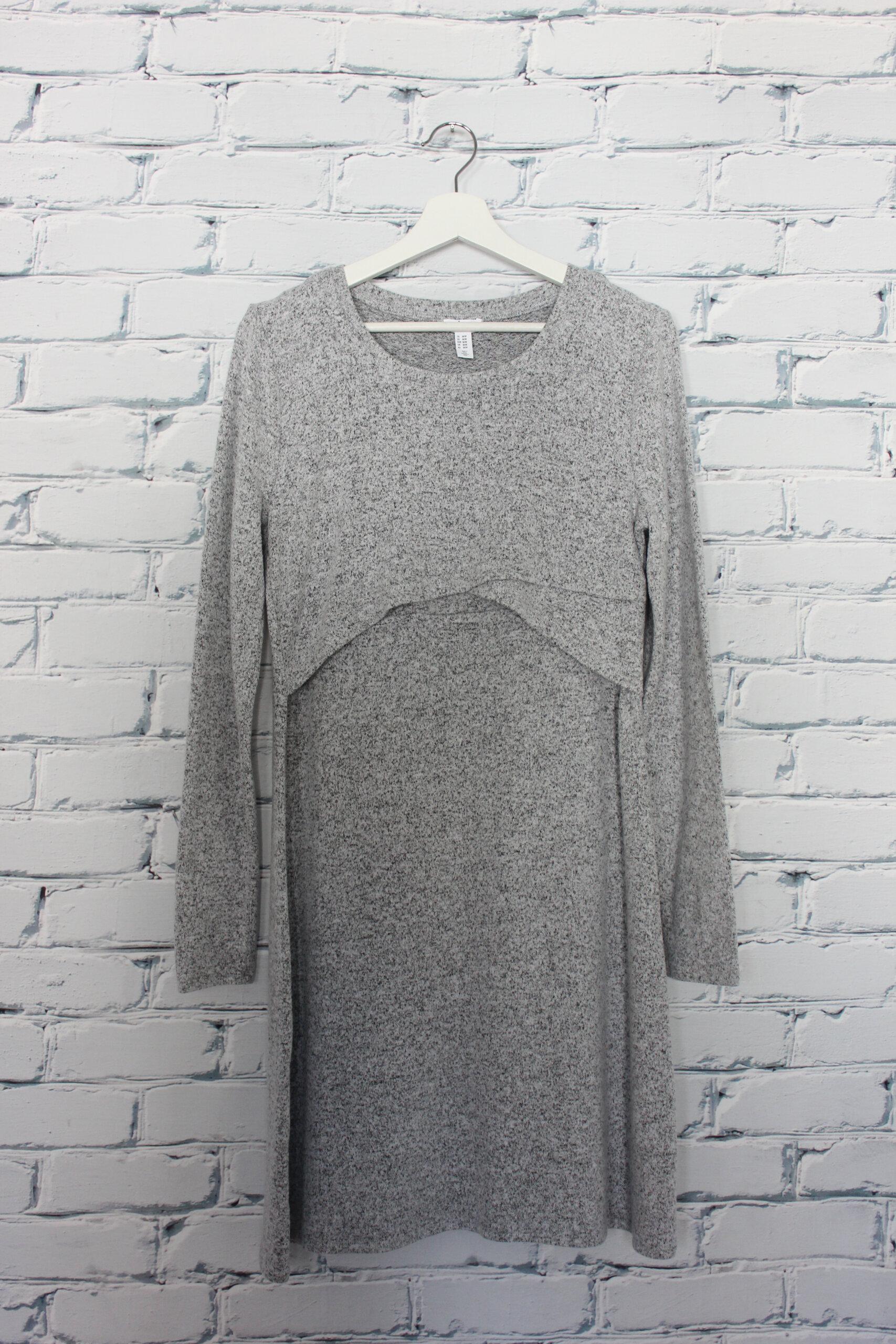 Robe d'allaitement à manches longues grise