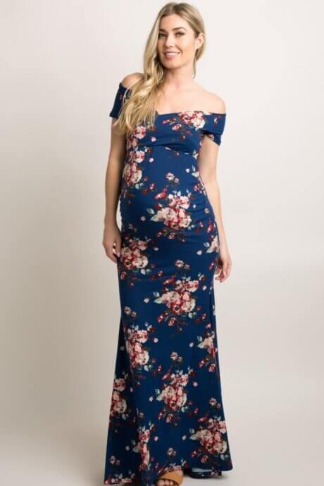 Robe longue à manches courtes marine avec fleurs roses