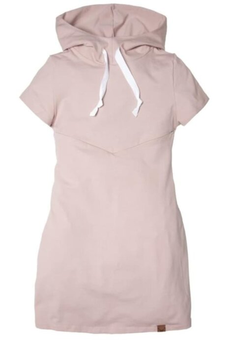 Robe d'allaitement à manches courtes rose pâle avec capuchon